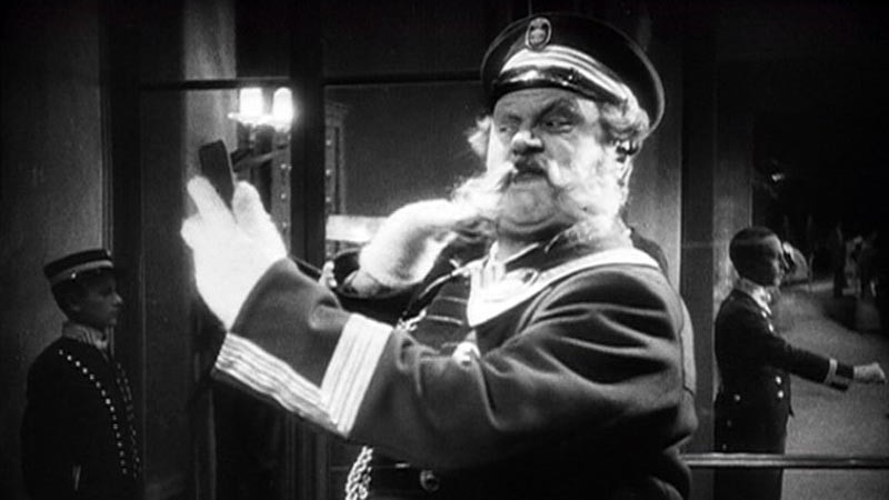 Emil Jannings portrays the hotel portier in the 1924 silent film The Last Laugh.