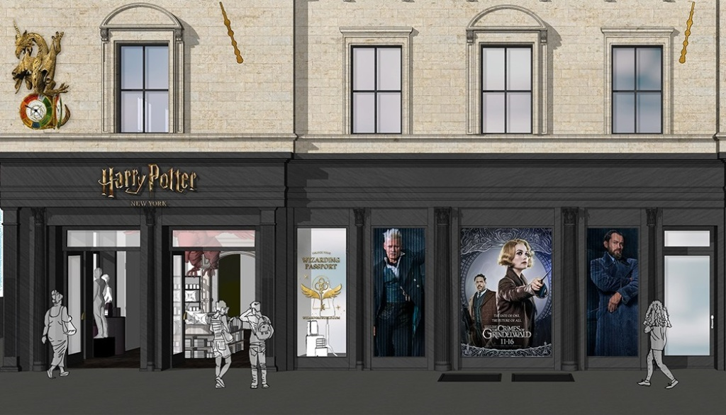 Concept art for the Wizarding World storefront.