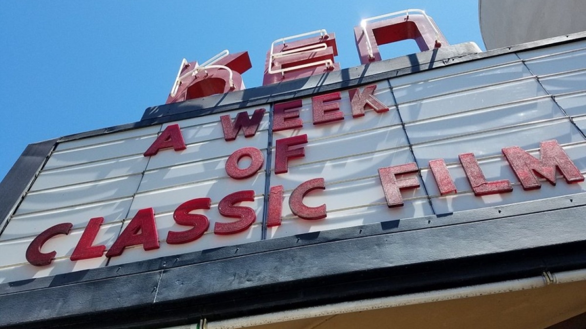 A movie theater marquee that is promoting a week of classic films will be screened at the venue.