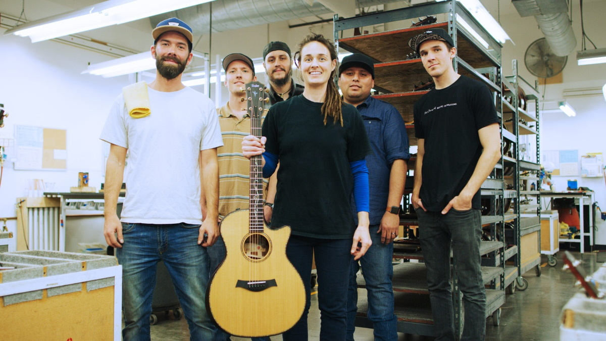 Taylor Guitars employees, now owners, at the El Cajon, CA factory prior to the COVID-19 pandemic.