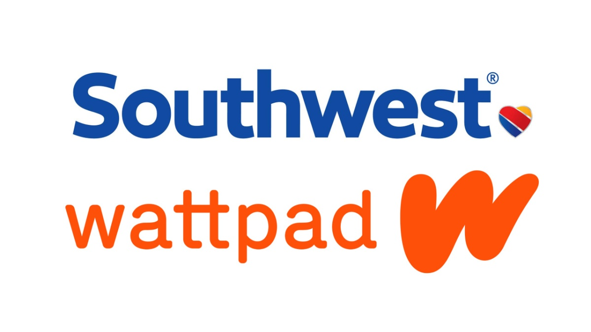 Corporate logos for Southwest Airlines and Wattpad