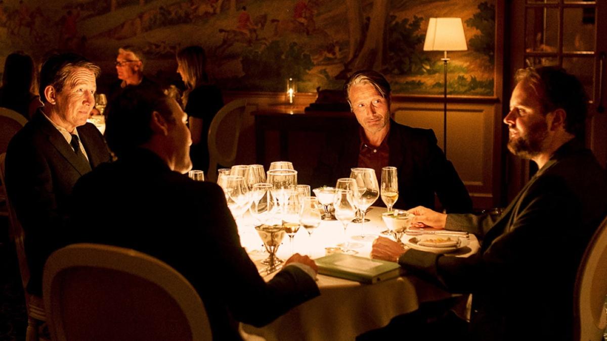 Another Round (2020) directed by Thomas Vinterberg, starring Mads Mikkelsen, Thomas Bo Larsen, and Magnus Millang.
