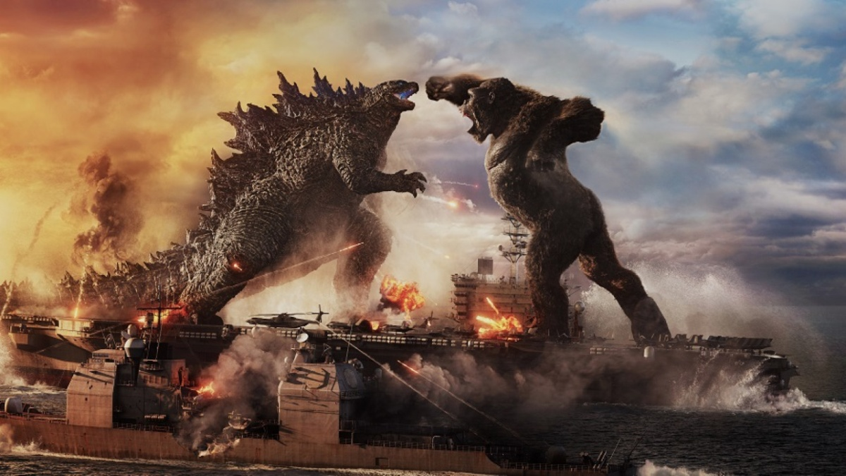 Godzilla vs. Kong (2021) directed by Adam Wingard and starring Alexander Skarsgård, Millie Bobby Brown, and Rebecca Hall.